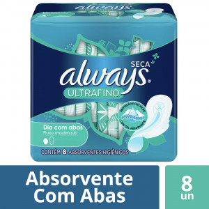 Absorvente Always Ultrafino Gel Malha Seca com Abas c/8