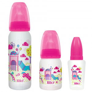 Kit Mamadeira Lillo Divertida Rosa(240+120mL+Chuquinha 50mL)