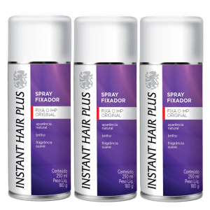 Kit 3x250mL Instant Hair Plus Spray Fixador Para Cabelo